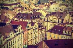Roofs of Prague, Czech Republic, vintage retro style. Stock Photo