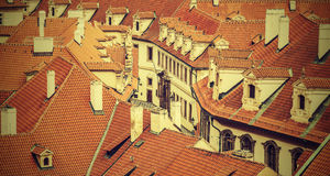 Roofs of Prague, vintage retro effect. Royalty Free Stock Photo