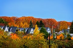 Roofs of private one-story houses between red and green autumn t. Rees against the blue sky Royalty Free Stock Photography