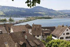Roofs of Rapperswil by the lake Zurich Royalty Free Stock Photography