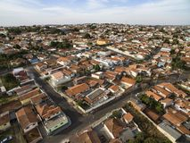 Roofs with red clay tiles on the houses of São Paulo, Brazil. Small cities in South America, city of Botucatu in the state of Sao Paulo, Brazil, South America stock photo