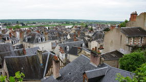 Roofs on the river Loire in Blois Royalty Free Stock Image