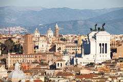 The roofs of Rome, Italy. Mountains of Lazio. Royalty Free Stock Images