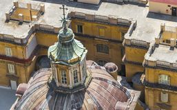 The roofs of Rome. View on the roofs of Rome from bird`s eye view royalty free stock photos