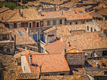 Roofs roofs roofs. In the city of Sommieres, France stock images