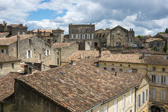 Roofs of Saint-Emilion. SAINT-EMILION, FRANCE - MAY 06, 2015: Saint-Emilion - one of the main red wine production areas of Bordeaux region, France. The town is a stock images