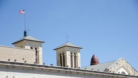 Roofs of San Antonio. Churches with crosses and banners Royalty Free Stock Image