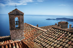 Roofs with sea view. Cote d'azur roofs with sea view Stock Photo
