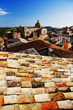 Roofs of Siculiana. View on cathedral from tiled roof, Sicily Stock Photography
