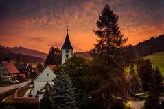 Small village Bolsternang with church, south Germany, at sunset stock image