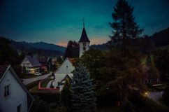 Small village Bolsternang with church, south Germany, at sunset stock image