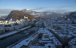 Roofs with snow, overview over Salzburg old town Stock Images