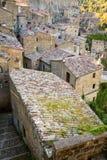 Roofs of Sorano, Tuscany. Sorano historical town at sunset, Tuscany, Italy Stock Images