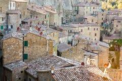 Roofs of Sorano, Tuscany. Sorano historical town at sunset, Tuscany, Italy Stock Photo