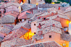 Roofs of spanish mountains town in evening Royalty Free Stock Photography