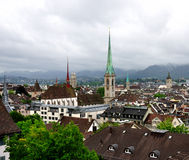 Roofs and spires of rainy Zurich, Switzerland Royalty Free Stock Photos