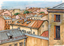 Roofs of St. Petersburg vector illustration