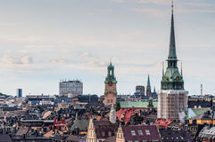 Roofs of Stockholm. View on the roofs of Stockholm with observation tower Royalty Free Stock Image