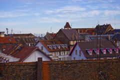 Roofs of Strasbourg. City in the morning. Alsace region, France Royalty Free Stock Photo