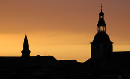 Roofs at Sunset. A sunset with silhouettes of roofs, belgium Royalty Free Stock Photos