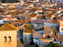 Roofs at sunset. Roofs of a small town in south of France during the sunset Stock Photos