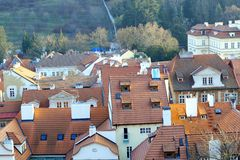 Roofs in the sunset. Prague, Czech Republic in the sunset stock photos