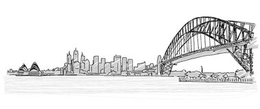 On the roofs of Sydney handdrawn sketch. Vector drawing Royalty Free Stock Image