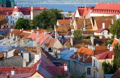 Roofs of tallinn. Old tiled roofs in tallinn, estonia Royalty Free Stock Photography