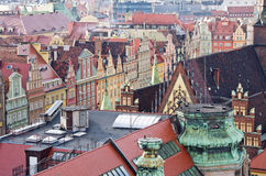 Roofs of tenement houses in Wroclaws town square, Poland Stock Photo