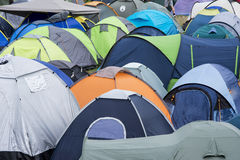 Roofs of the tents in music festival campsite Stock Images