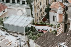 Roofs and terraces from the Galata Tower, istanbul royalty free stock images