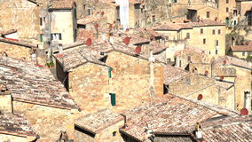 Roofs of  town Sorano stock video