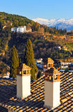 Roofs with traditional chimneys in Granada, Spain Royalty Free Stock Photo