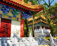 Roofs in traditional Chinese-style at the Buddhist temple and po Stock Photo