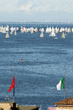 Roofs of Trieste city with the Barcolana regatta. In background Stock Photos