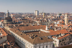 The roofs of Turin, Italy. A panoramic view from above of Turin, Italy Stock Photography