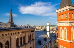 Roofs of typical sweden houses buildings, Stockholm, Sweden royalty free stock photo