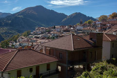 Roofs and valley of Town of Metsovo, Epirus Royalty Free Stock Photography