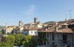 The roofs of Varzi (Italy). Varzi (Pavia, Lombardy, Italy), panoramic view royalty free stock photography