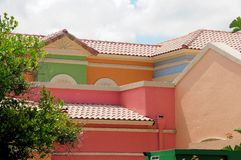 Roofs of very colorful retail stores in South Florida Stock Images