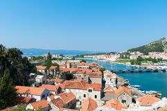 Roofs view in Croatia. View on the old town and bridge in Omis, Croatia Royalty Free Stock Photos