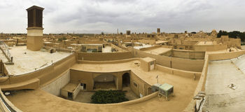 Roofs of Yazd, Iran with wind-catchers Stock Photo