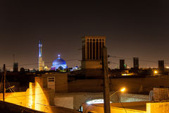 Roofs of Yazd at night, royalty free stock image