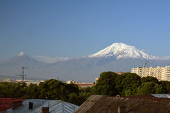 Roofs of Yerevan city with Ararat. In the far Stock Photography