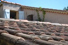 Rooftiles. On frech cottage summer Royalty Free Stock Photos