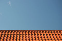 Rooftop. Red roof and blue sky in bavaria Royalty Free Stock Images