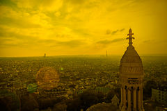 Rooftop and aerial view from Sacre Coeur Basilica in sunset ligh Royalty Free Stock Photos