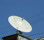Rooftop antenna. Wires and sky Stock Photos