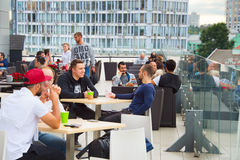 Rooftop bar. KIEV, UKRAINE - SEPT 21, 2015: People at rooftop restaurant in Kiev. Kiev is the capital and business centre of Ukraine Royalty Free Stock Photography