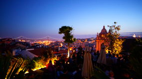 Rooftop bar Park in Lisbon Portugal by night Stock Photos
